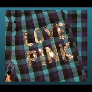 VS Pink size XS plaid cotton flannel lounge pants